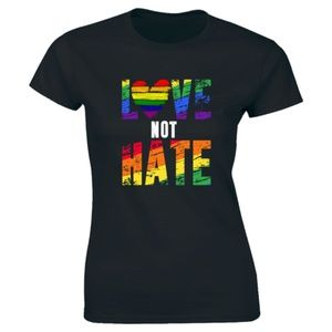 Half It Tops - Love Not Hate Women Premium T-Shirt Tee
